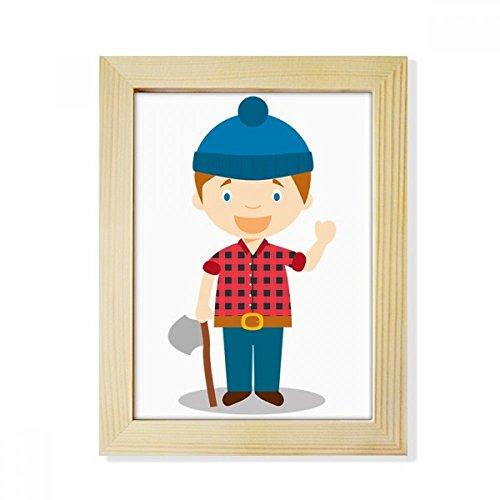 DIYthinker Blau-Hut-Hemd Kanada Cartoon-Desktop aus HÖlz Bilderrahmen Fotokunst-Malerei Passend 15.2 x 20.2cm (6 x 8 Zoll) Bild Mehrfarbig