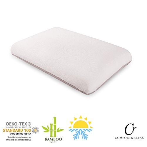 Cr Premium Vier-Jahreszeiten-Luft Memory-Schaum-Kissen, 60 x 40 x 12cm, aus Bambus und SAMT, zweiseitiger Bezug, für einen gemütlichen und warmen Schlaf, weiß und grau
