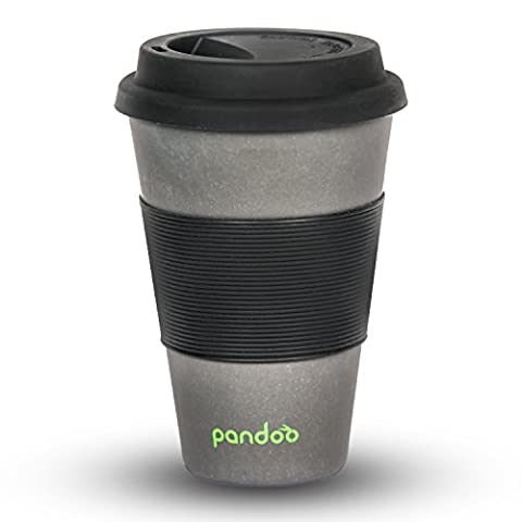 pandoo ♻ Bambus Coffee-to-Go-Becher | Kaffee-Becher, Trink-Becher, Bamboo-Cup | ökologisch abbaubar, recyclebar, umweltfreundlich | lebensmittelecht, spülmaschinengeeignet (Schwarz)