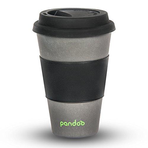 pandoo ♻ Bambus Coffee-to-Go-Becher | Kaffee-Becher, Trink-Becher, Bamboo-Cup | ökologisch abbaubar, recyclebar, umweltfreundlich | lebensmittelecht, spülmaschinengeeignet (Schwarz) (Trinken Echte Männer)