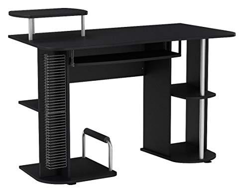 SixBros. Computerschreibtisch in schwarz, Schreibtisch mit vielen Extras für das Büro und Home Office, platzsparend, 120 x 60 cm S-104/2082