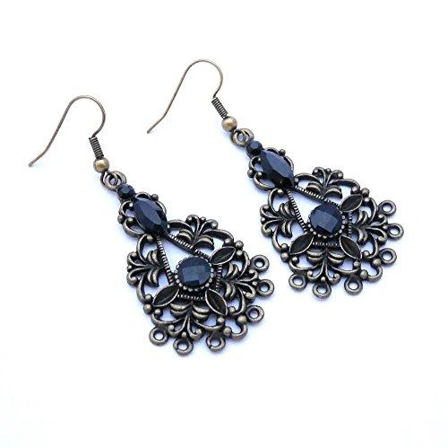 Bronze-Chandelier-Ohrringe, schwarz ohrringe Swarovski-Kristalle, Muttertagsgeschenk, Geschenkidee...