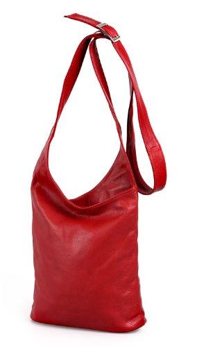 Ital. Croce borsa a tracolla per donna in nappa con scelta di colori 24,5x 28x 8,5cm (W x H x D) Red - RED