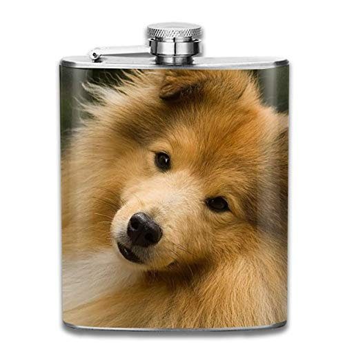 Cute Face Puppy Sheepdog Fashion Portable 304 Stainless Steel Leak-Proof Alcohol Whiskey Liquor Wine 7OZ Pot Hip Flask Travel Camping Flagon for Man Woman Flask Great Little Gift