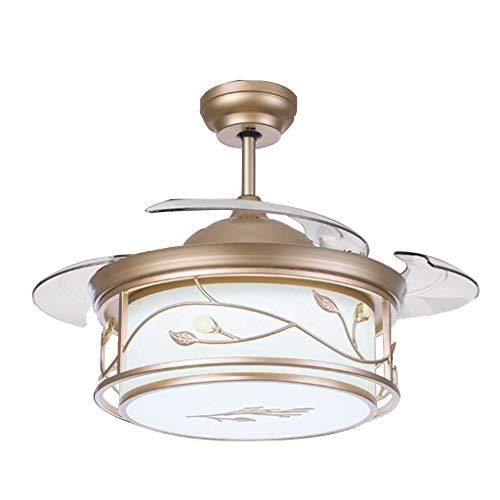 Kronleuchter LED Deckenventilator Licht PC Invisible Fan Leaf Fan Licht Wohnzimmer Fernbedienung Deckenventilator Licht Schlafzimmer Silent Fan Kronleuchter (Color : Gold-51 * 106cm) - Gold Leaf 12 Licht