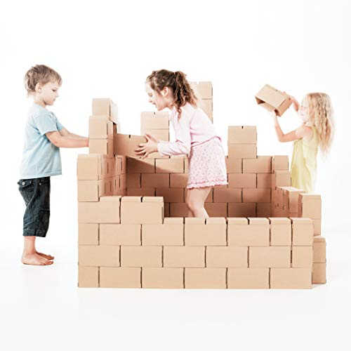 Kit de Construction pour Enfants GIGI | Set de 100 Briques Géantes en Carton Robuste | Blocs avec Nouveau Système de Verrouillage | Jouet Éducatif pour Château, Cabane, Fusée, Cadeau Filles et Garçons