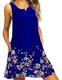 bd22519c8 Vestido Verano Mujer Casual Vestido De Botón de Impresión Floral Tallas Grandes  Vestido Recto De Simple Y Suelto…