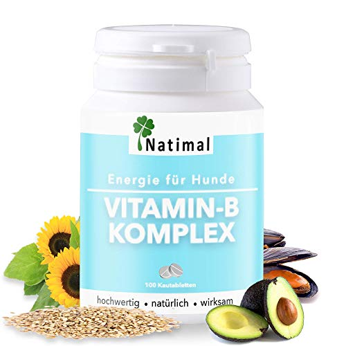 Natimal. Schlaues Vitamin-B Komplex mit extra B12 für Hunde. Lieferung der wichtigen B-Vitamine, Calcium und Folsäure. 100 kleine Tabletten, Vorratspackung für mind. 3 Monate.
