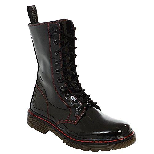 Boots & Braces - easy 10-Loch TR bloody patent black Stiefel Rangers Schwarz Lack rote naht boot schuhe