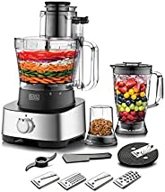 Black+Decker 880W 4-in-1 Food Processor, Blender, Grinder and Dough Maker with 31 Functions, Silver/Black - FX