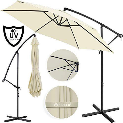 Kesser® Alu Ampelschirm Ø 350 cm ✔mit Kurbelvorrichtung ✔UV-Schutz ✔Aluminium ✔Wasserabweisende Bespannung - Sonnenschirm Schirm Gartenschirm Marktschirm Beige