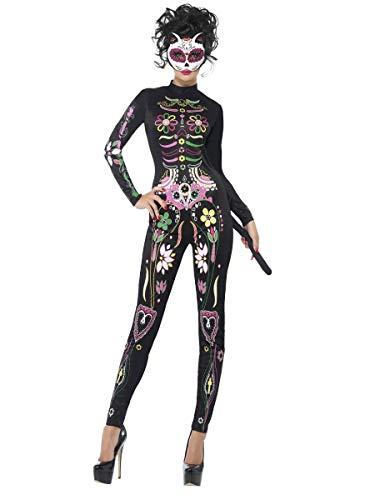 Damen Tag der Toten Zuckerschädel Katzen Kostüm
