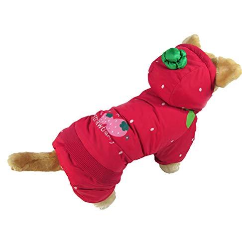Erdbeere Kostüm Muster - Mieel Haustier Kleidung Warme Pet Bekleidung Winter Haustier Jacke Washed Puppy Jumpsuit Bequemes Hunde Wintermäntel Sweatshirts Kostüme Rot Erdbeere Muster