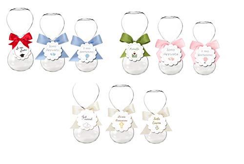 10 clessidra in vetro varie misure + 10 etichette a fiore + nastrino raso 2 cm (grandi 13 cm 1172010)