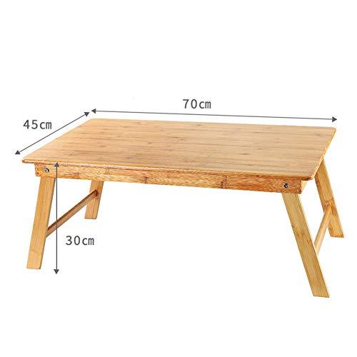 YFUIOVX Klapptisch Bett Bambus Quadrat Multifunktion Faul Computer Laptop-Tisch, Lernen Schreibtisch Esstisch,Woodcolor,70 * 45 * 30cm