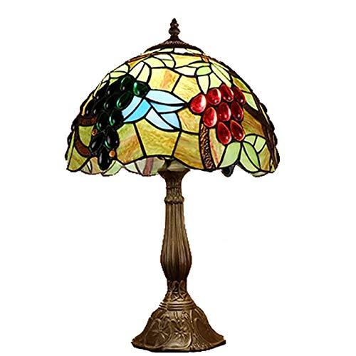 QCKDQ 12 Zoll Schreibtisch Licht, Tiffany Stil Tischlampe Mit Traube Und Online Schalter Glasmalerei, Schlafzimmer Nachttisch Schreibtisch Kleine Tischleuchte Dekorative E27