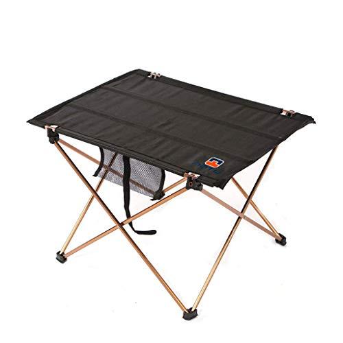 NJ Table Pliante- Tableau Se Pliant portatif d'alliage d'aluminium léger, Tableau extérieur de Tissu d'Oxford de Camping (Couleur : Noir, Taille : 56x42x37cm)
