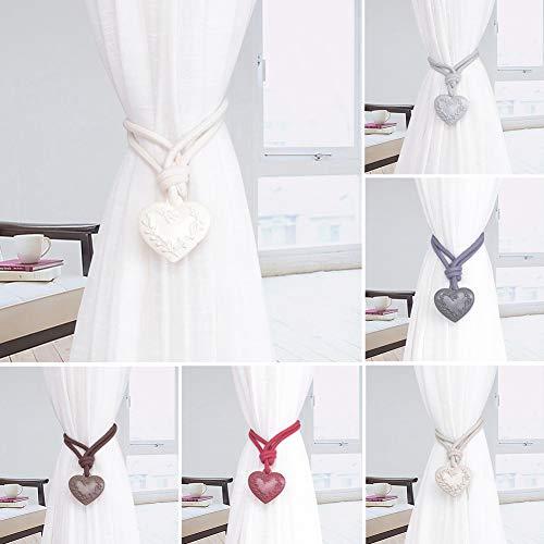 XdremYU Kreative Herz Fenster Vorhang Krawatte Seil Raffhalter Halfter Schlafzimmer Zuhause Dekoration Champagner