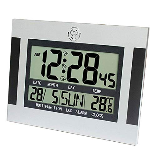 FLAMEER Digital Wanduhr Funkuhr Datum Temperatur Uhr mit Großem LCD Display