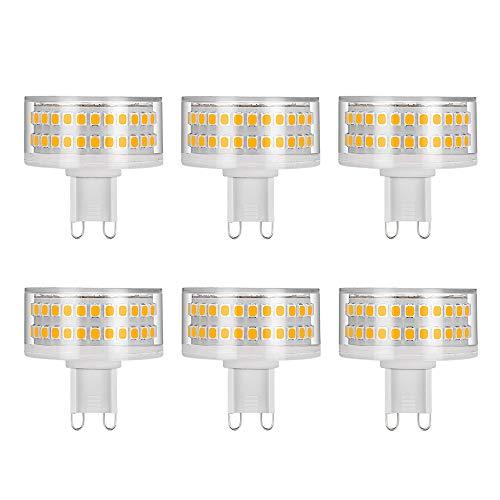 LED Leuchtmittel G9 9W, Flach Rund, 88 LED-Chips, Ersatz 90W G9 Halogenlampen, 3000K Warmweiß, 900 LM, 360 Grad Abstrahlwinkel, AC 220-240V, Nicht Dimmbar, 6 Stück - 90w Led