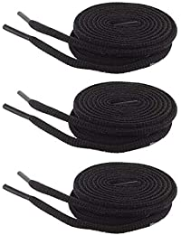 Shoeshine Round Oval Shoe Lace (3 Pairs Set) 4 mm Thick Shoelace for Sport Casual Hiking Shoes or boot
