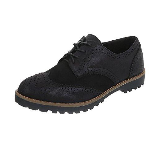 Ital-Design Schnürer Damen-Schuhe Oxford Blockabsatz Schnürer Schnürsenkel Halbschuhe Schwarz, Gr 38, F169-20-