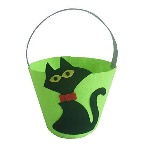Tianzhiyi Weihnachtsdekoration Halloween Kürbis Eimer, Langlebig und Praktisch Kind Geschenk Candy Bag Hut Smiley Handtasche Halloween Party Supplies für Kinder (Color : Green+Black)