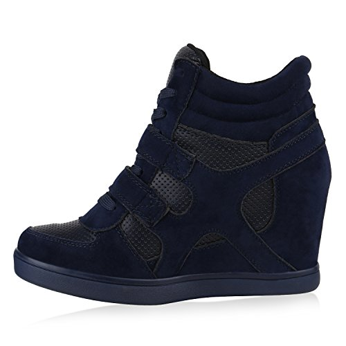 Stiefelparadies Sportliche Damen Sneakers Sneaker Wedges Glitzer Lochung Keilabsatz Schuhe Wedge Sportschuhe Flandell Dunkelblau
