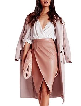 La Mujer Elegante De Alta Cintura Acanalada De Hendidura Falda Bodycon Office Lady PU