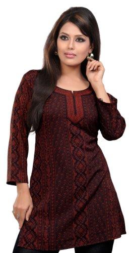 Indische Kurti Top Bedruckte Damen Bluse Indien Kleidung (Kastanienbraun, L)