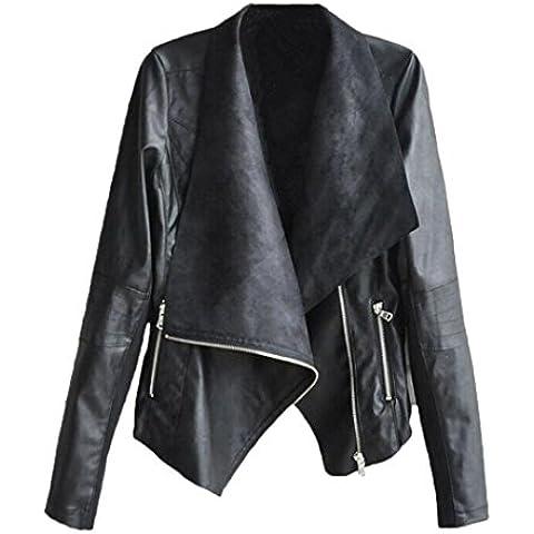 Vovotrade Las mujeres del punk chaqueta de abrigo de cuero de la solapa