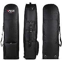 PGM Bolsa de Golf Aviation impermeable portátil Golf Air Paquete acolchado bolsa de golf plegable bolsa de viaje cubierta con ruedas – negro (HKB002), negro