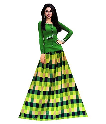 Morang Women's Green Color Banglori Satin Printed Lehenga Choli(Green_Chex)