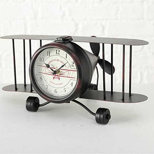 Tamia-Home Uhr Flugzeug Flight Clock Deko Wand Kunst L33cm Eisen Schwarz (Flugzeug-uhr Wand)