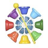 Providethebest 8 Nota Diatónico Campanas de Metal Glockenspiels Mango de plástico Conjunto de Instrumentos Musicales para Bebés y Niños
