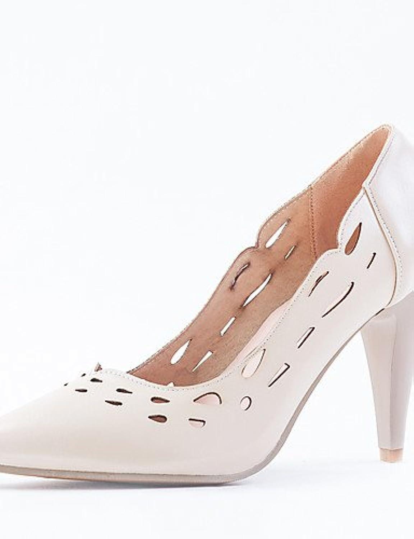 ZQ Zapatos de mujer-Tac¨®n Stiletto-Tacones / Puntiagudos-Tacones-Oficina y Trabajo / Vestido-Semicuero-Rosa /...