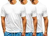 BOLF Hombre Camiseta de Manga Corta Básica Escote Redondo Estilo Deportivo 3-Pack Just Play T1427 Blanca XXL [3C3]