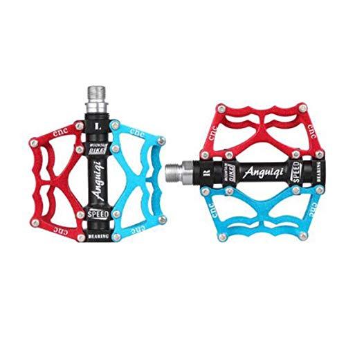 YLDLX Universal-Fahrradpedale - Aluminium-CNC-gelagerte Mountainbike-Pedale - Rennradpedale mit 24 Antirutsch-Stiften - Leichte Fahrrad-Plattformpedale (Color : Blue red)