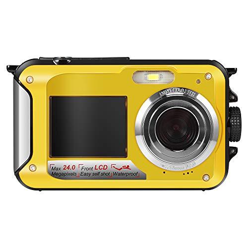 Hoyxel Wasserdichte Digitalkamera, Unterwasser Kamera EG04 Mini FHD Videokamera Unterwasser Sport Weihnachten Neujahr Geschenk Gelb