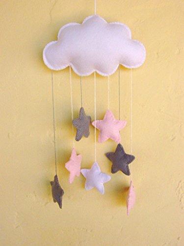 Filz Wolke Baby Mobile, Kinderzimmer, rosa und grau, Sternen. Namen extra. Erhältlich in vielen Farben! (Viel Mobile)