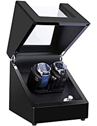 Kalawen Upgraded Double Watch Winder Box with 5 Rotation Modes, Mute Japanese Motor, Dual Watches Rotation Storage Case Display Box for Automatic Mechanical Watches