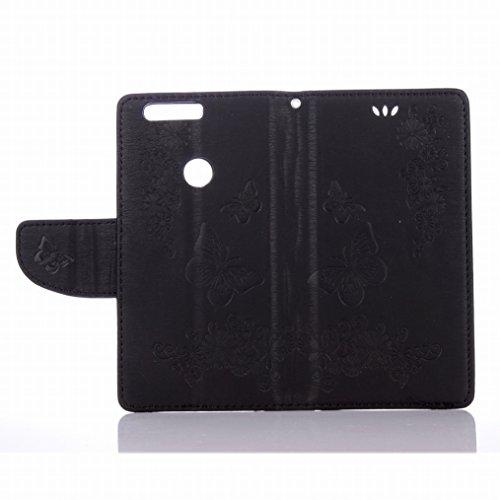 LEMORRY Huawei Honor 8 Custodia Pelle Cuoio Flip Portafoglio Borsa Sottile Fit Bumper Protettivo Magnetico Chiusura Standing Card Slot Morbido Silicone TPU Case Cover Custodia per Huawei Honor 8, Farf Nero