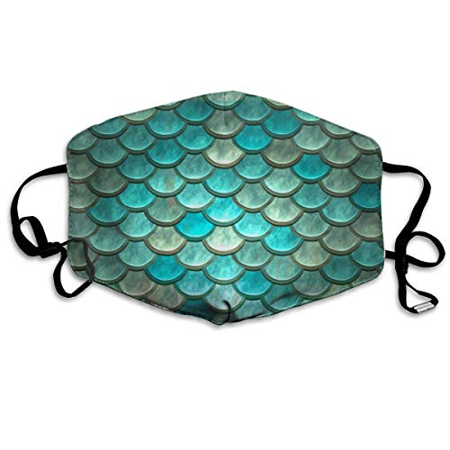 asken, Mermaid Minty Green Fish Scales Anti Dust Face Mouth Cover Mask Respirator Cotton Protective Breath Healthy Safety Warm Windproof Mask ()
