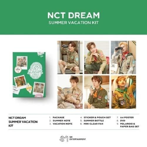 NCT Dream - 2019 NCT Dream Summer Vacation KIT DVD+2Notes+Summer Bottle+Mini Clear Fan+On Pack Posters+Frame&Film Set+Double Side Extra Photocards Set -