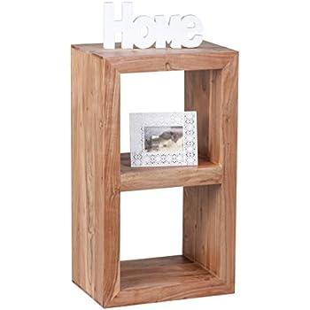 WOHNLING Standregal Massivholz Akazie 88 Cm Hoch 2 Böden Design Holz Regal  Naturprodukt Beistelltisch Landhaus Stil Dunkel Braun Wohnzimmer Möbel  Unikat ...
