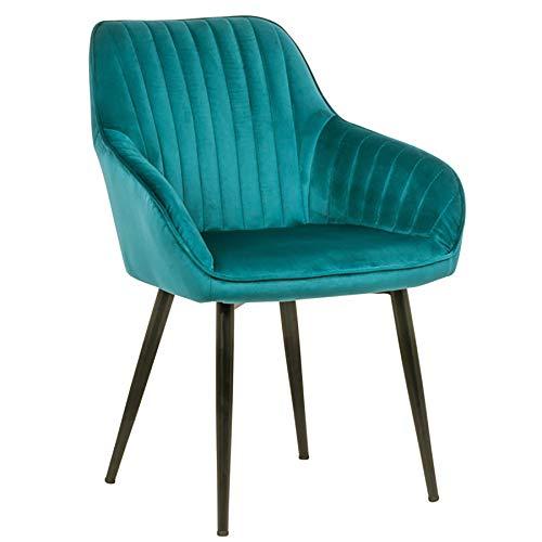 Riess Ambiente Edler Design Stuhl Turin Samt türkis mit Armlehne Esszimmerstuhl Konferenzstuhl