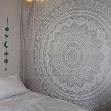 Tapiz hippie con mandala tradicional indio para colgar en la pared, algodón gris/plateado, colcha bohemia para cama de matrimonio
