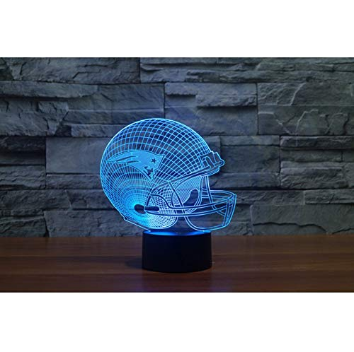 3D New England Patriots Logo Kollektion Fußball Helm Visuelle Lampe Wohnkultur LED Tischlampe nachtlicht