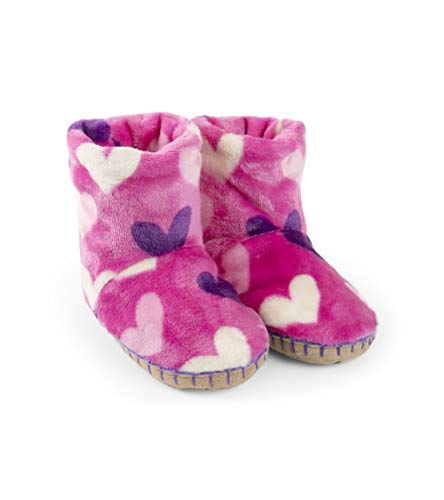 Hatley Mädchen Fuzzy Fleece Slouch Slippers Hohe Hausschuhe, Pink (Multi Hearts 650), 28-31 (Pyjamas Urlaub Mädchen)
