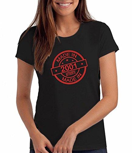 """Geschenk T Shirt zum 16. Geburtstag, Damen: """"Made In 2001"""" Schwartz"""